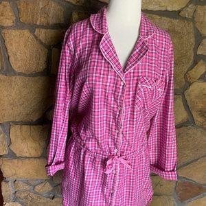 EUC Victoria's Secret Pink Plaid Night Gown - Med